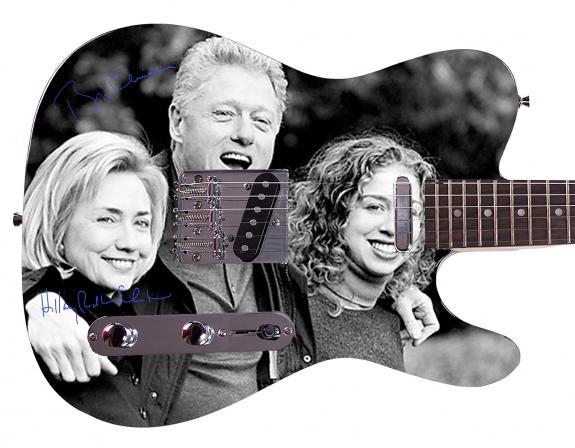 President Bill & Hillary Clinton Facsimile Signature  Custom Graphics Guitar