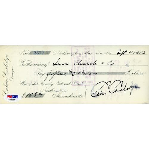 President Calvin Coolidge Autographed Check - PSA