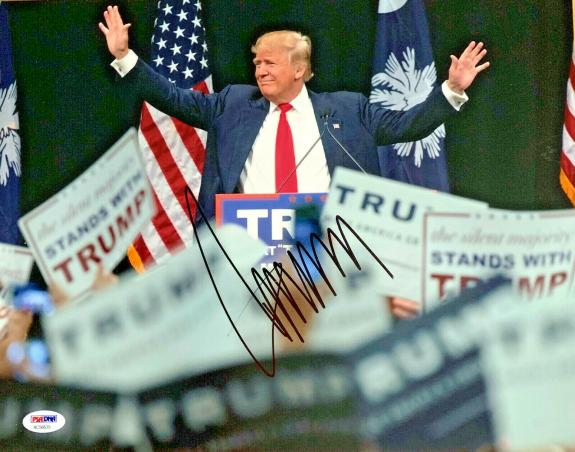 President Donald Trump Autographed 11x14 Signed Photo Arms in Air - PSA DNA COA