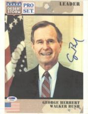 President George Bush Sr. Autographed (Desert Storm) 8.5x11 Card - PSADNA