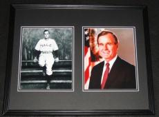 President George HW Bush Framed 16x20 Photo Display Yale Baseball