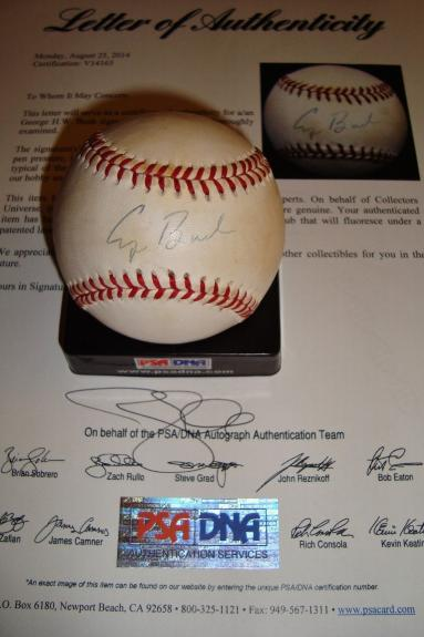 President George H.W. Bush signed auto PSA/DNA OAL ball single baseball HW 41st