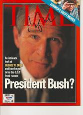 President GEORGE W. BUSH Signed TIME Magazine w/ PSA LOA (NO Label) - GRADED 10