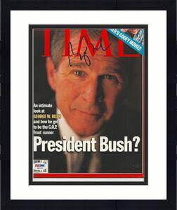 President GEORGE W. BUSH Signed TIME Magazine w/ PSA LOA (NO Label) - GRADED 10