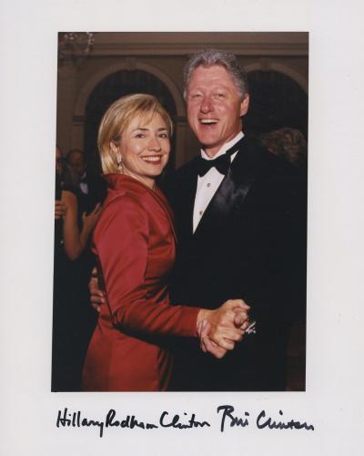 President Bill Clinton & Hillary Clinton Signed Autographed Color Photo Jsa Coa