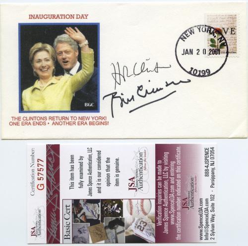 President Bill Clinton & Hillary Clinton Signed First Day Cover Jsa Coa