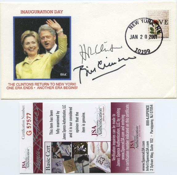President Bill Clinton & Hillary Clinton Signed First Day Cover Jsa Coa
