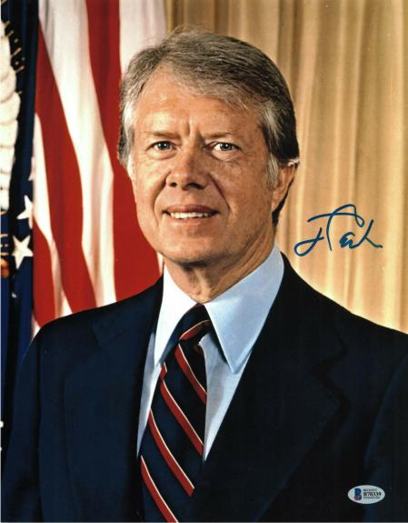 President Jimmy Carter Signed 11x14 Photo Democrat Beckett Bas Autograph Auto B