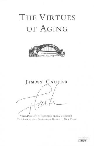 President Jimmy Carter signed 1998 The Virtues of Aging 5.5x8 Book Page- JSA Hologram #EE62747