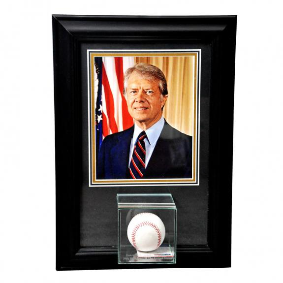 Jimmy Carter Autographed Picture - President Baseball Shadowbox Framed Display PSA Exact