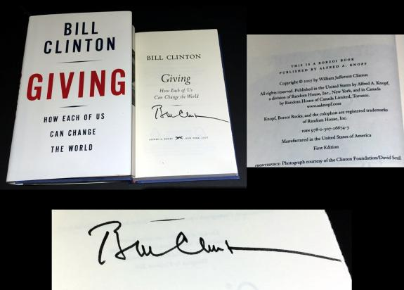President Bill Clinton Signed Giving Hardcover 1st Edition Book - BB COA
