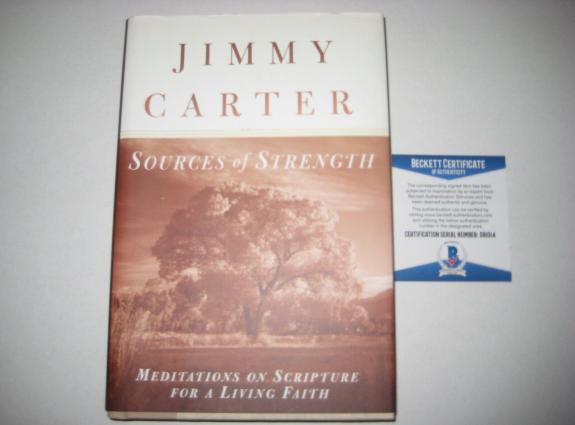 President JIMMY CARTER Signed SOURCES OF STRENGTH Book w/ Beckett COA