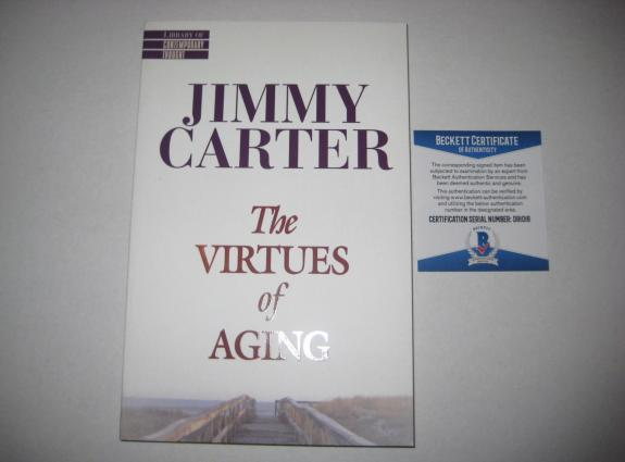 President JIMMY CARTER Signed VIRTUES OF AGING Book w/ Beckett COA