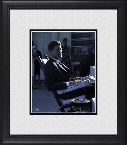 "President John F. Kennedy Framed 8"" x 10"" Seated in White House Chair Photograph"