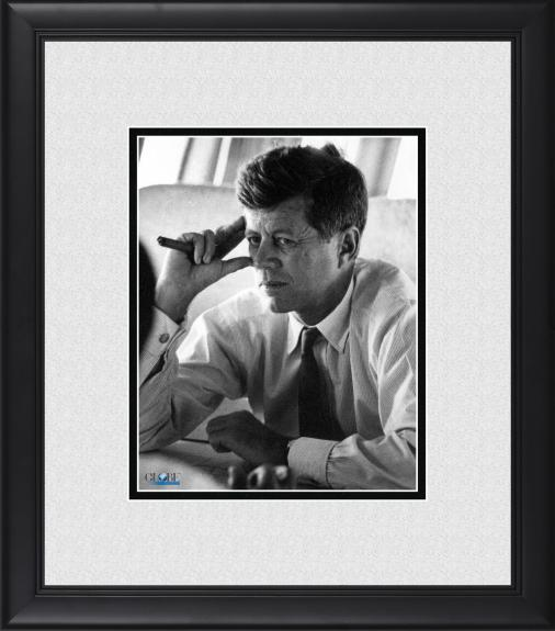 "President John F. Kennedy Framed 8"" x 10"" Sitting on Air Force One Photograph"