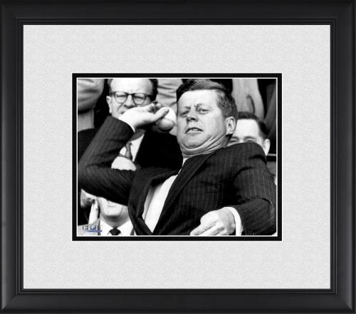 "President John F. Kennedy Framed 8"" x 10"" Throwing a Baseball Photograph"