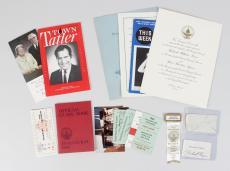 President Richard Nixon Lot Incl. Signed Cut, '69 Inauguration Invitation, Tickets, Pins +More (JSA Full LOA)