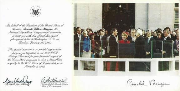 President Ronald Reagan Official 1981 Inauguration Photo & Republican Letter GOP