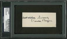 President Ronald Reagan Signed 1.5x3.5 Cut Autograph PSA/DNA Slabbed