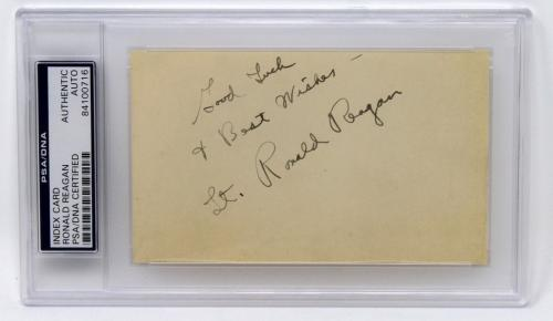 President Ronald Reagan Signed Autographed Cut Good Luck & Best Wishes Psa/dna