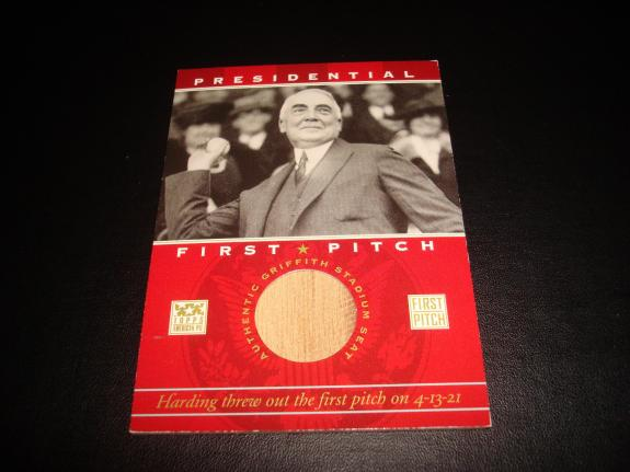 President Warren Harding 2002 Topps First Pitch Griffith Stadium Seat Relic A17