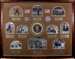 Ten Presidential Opening Day First Pitch Framed Photos