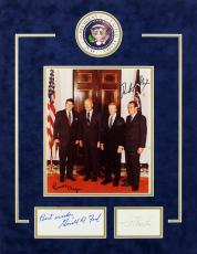 Presidential (4) Reagan, Nixon, Ford & Carter Signed & Matted Photo Display BAS