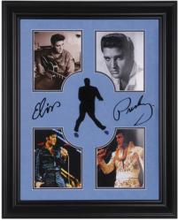 PRESLEY, ELVIS FRAMED Photo COLLAGE (DELUXE/SUEDE) w/ SIGNATURE