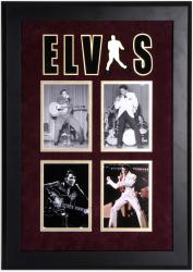 PRESLEY, ELVIS FRAMED PHOTO COLLAGE (SUEDE) w/ELVIS LOGO