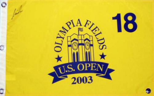 Nick Price Autographed 2003 Olympia Fields US Open Pin Flag - Mounted Memories