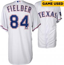 Prince Fielder Texas Rangers Game-Used White Jersey from 4/29/14 vs. Oakland Athletics