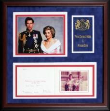Princess Diana & Prince Charles Autographed Framed Holiday Card (JSA)