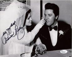 PRISCILLA PRESLEY HAND SIGNED 8x10 PHOTO     WEDDING DAY WITH ELVIS     COA JSA