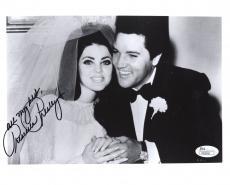 PRISCILLA PRESLEY HAND SIGNED 8x10 PHOTO     WEDDING DAY WITH ELVIS      JSA