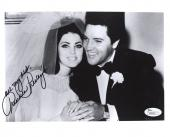 PRISCILLA PRESLEY HAND SIGNED 8x10 PHOTO     WEDDING DAY WITH ELVIS      JSA