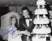Priscilla Presley w/ Elvis Signed Cutting Cake Wedding 8x10 B&W Photo