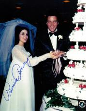 Priscilla Presley w/ Elvis Signed Cutting Cake Wedding 8x10 Color Photo