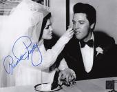 Priscilla Presley w/ Elvis Signed Eating Cake Wedding 8x10 B&W Photo