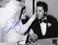 Priscilla Presley w/ Elvis Signed Eating Cake Wedding 8x10 B&W Photo