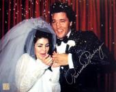 Priscilla Presley w/ Elvis Signed Wedding Celebration 8x10 Photo