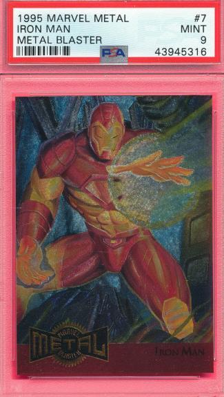 Psa 9 Mint Metal Blaster Iron Man 1995 Marvel #7 Graded Comic Card Vintage Tphlc