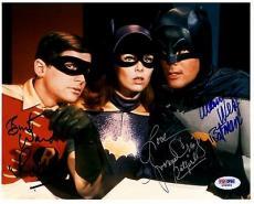 Psa/dna Adam West Batman-burt Ward Robin-yvonne Craig Batgirl Signed 8x10 Photo