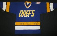 "Hanson Brothers ""slapshot"" Charlestown Chiefs Autographed Jersey Large Lojo Coa"