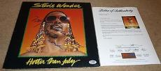 """Psa/dna Hotter Than July Stevie Wonder """"my Love Is With You"""" Auto-signed Record"""