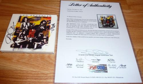 Psa/dna Led Zeppelin Jimmy Page-robert Plant Autographed-signed Vintage Cd 26219