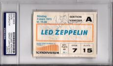 Psa/dna Led Zeppelin Jimmy Page-robert Plant-jpj Autographed 1973 Ticket 3841935