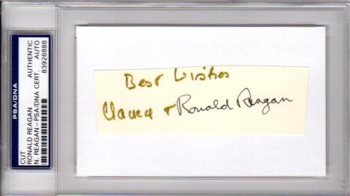 Psa/dna Ronald & Nancy Reagan Dual Autographed-signed 3x5 Index Card Cut 3926888