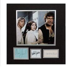 Psa/dna Signed Auto Matted Star Wars Cast (ford,hammill,fisher)  12723