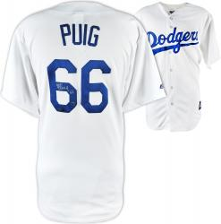 Yasiel Puig Los Angeles Dodgers Autographed White Jersey - Mounted Memories