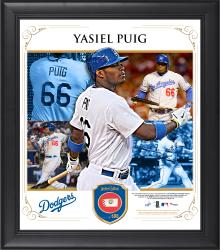 "Yasiel Puig Los Angeles Dodgers Framed 15"" x 17"" Collage with Piece of Game-Used Ball -"